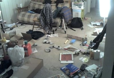 unclean untidy room