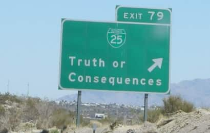 truth or consequences road sign