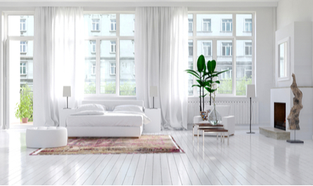 very clean white home